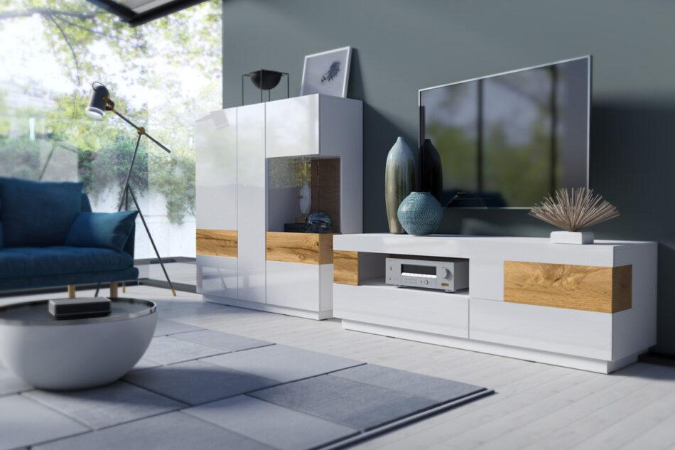 SILKE Duża komoda 220 cm z półkami modern biała / dąb biały połysk/dąb wotan - zdjęcie 2