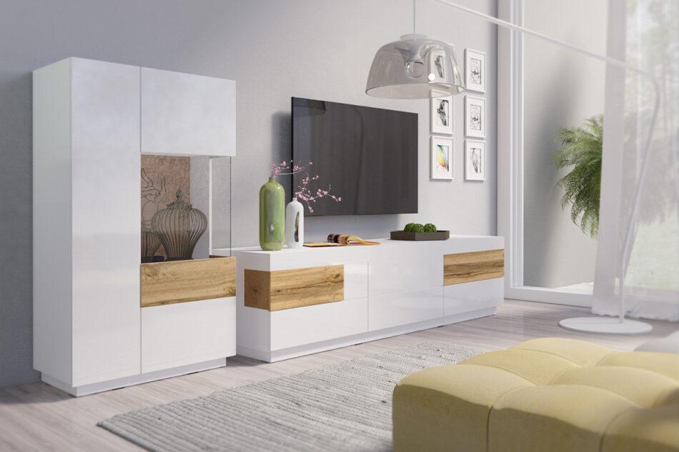 SILKE Duża komoda 220 cm z półkami modern biała / dąb biały połysk/dąb wotan - zdjęcie 4