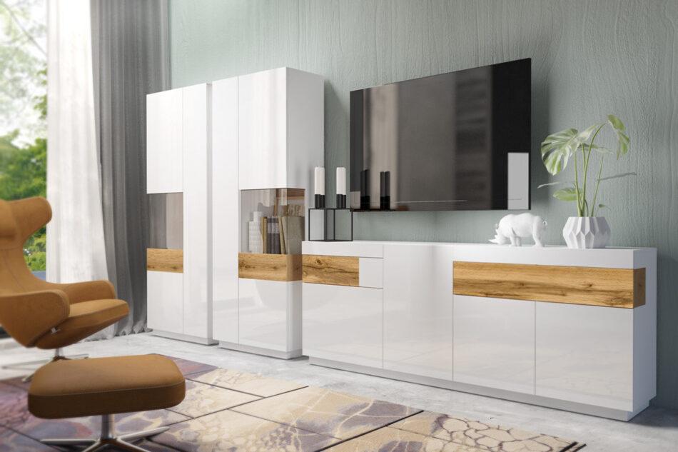 SILKE Duża komoda 220 cm z półkami modern biała / dąb biały połysk/dąb wotan - zdjęcie 3