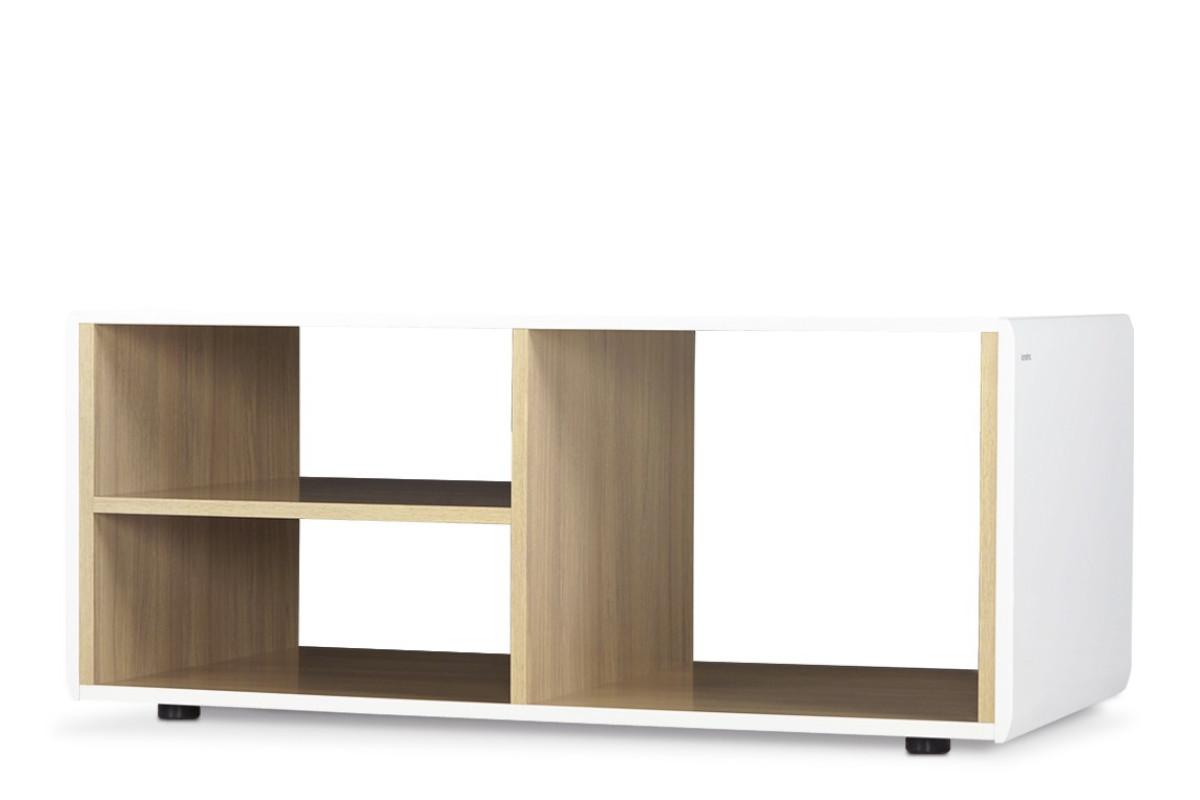 Stolik kawowy z półkami w stylu skandynawskim biały