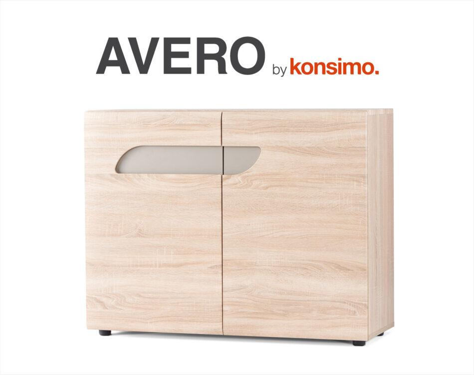 AVERO Komoda z półkami 110 cm w stylu skandynawskim dąb szary dąb/szarobeżowy - zdjęcie 5