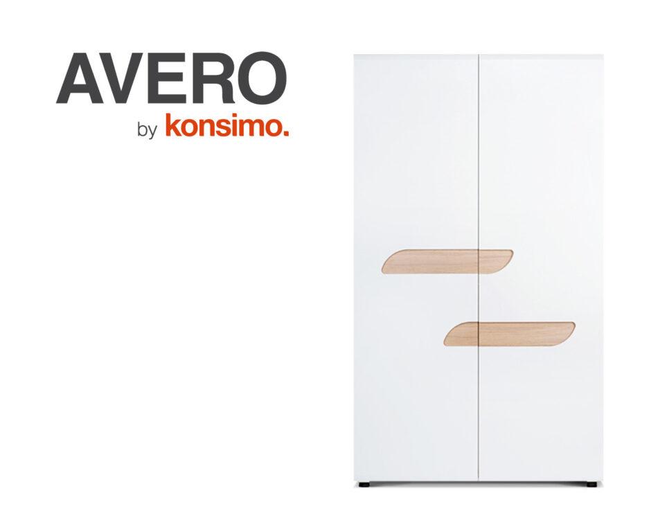 AVERO Szafa ubraniowa z półkami w stylu skandynawskim biała biały matowy/biały połysk/dąb - zdjęcie 7