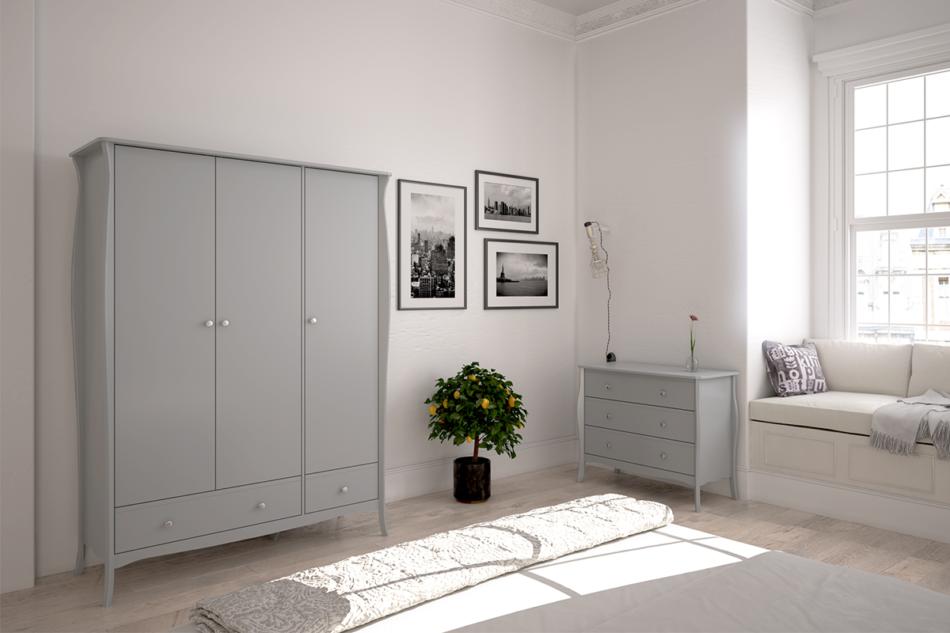BAROQUE Wąska komoda z szufladami vintage biała biały - zdjęcie 5