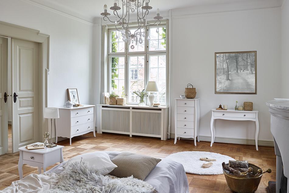 BAROQUE Wąska komoda z szufladami vintage biała biały - zdjęcie 1