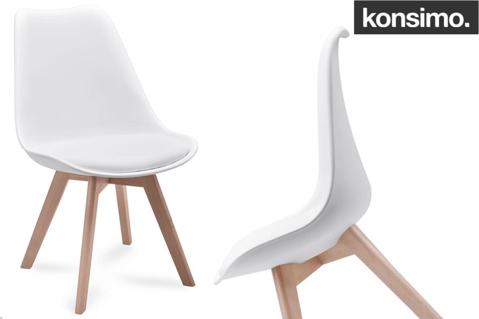 BESO Proste plastikowe krzesło na drewnianym stelażu białe biały - zdjęcie 7