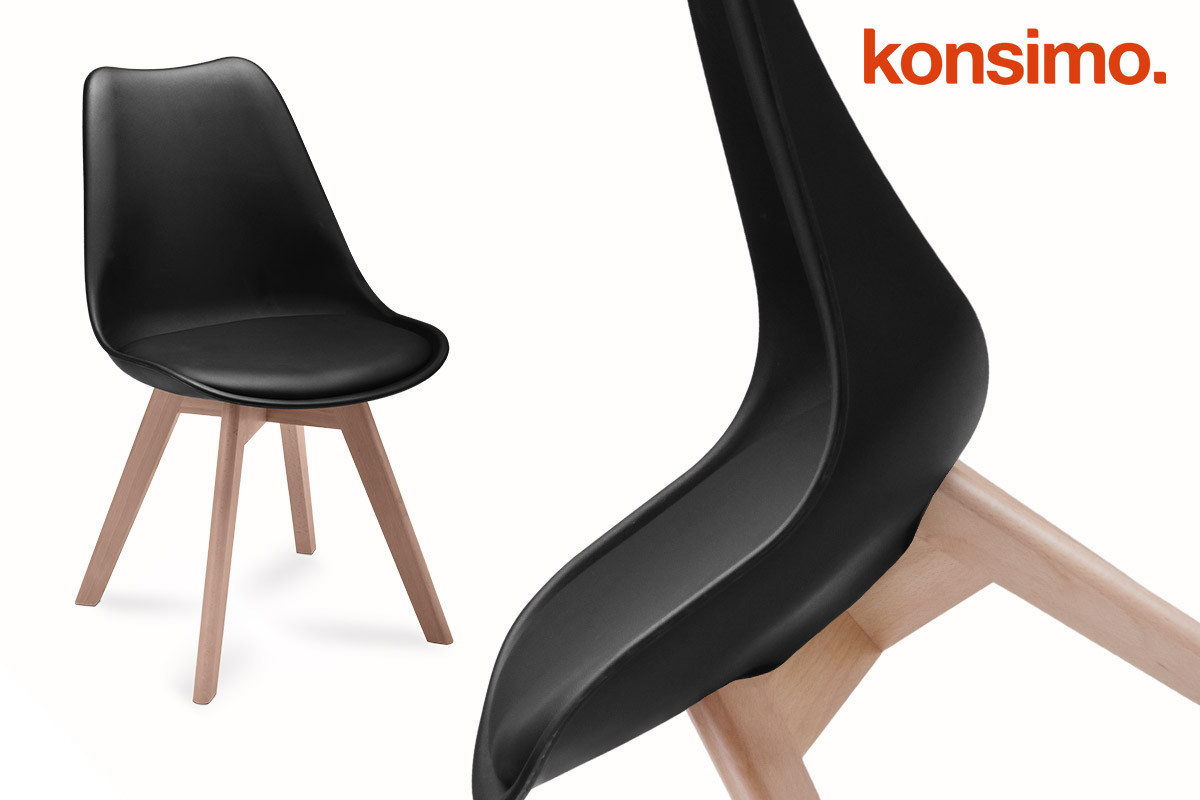 Proste plastikowe krzesło na drewnianym stelażu czarne