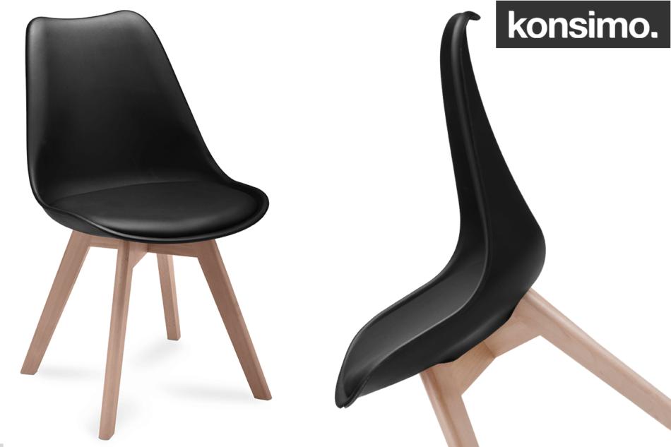 BESO Proste plastikowe krzesło na drewnianym stelażu czarne czarny - zdjęcie 8