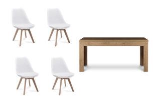 BESO, CALDO, https://konsimo.pl/kolekcja/beso-caldo/ Zestaw do jadalni stół rozkładany dąb i 4 białe krzesła biały/dąb naturalny - zdjęcie