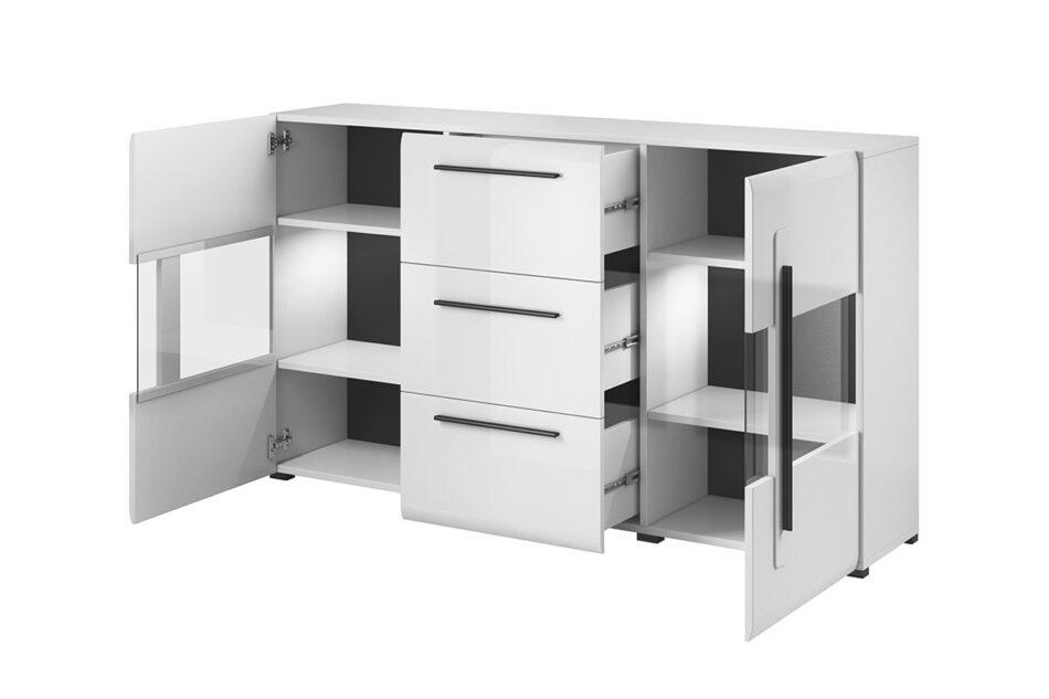 TULSA Komoda z witryną 180 cm w stylu modern biały połysk biały połysk - zdjęcie 2