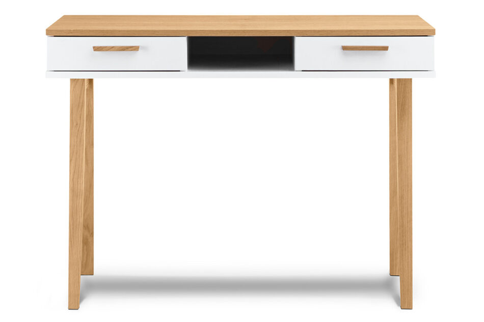 FRISK Białe biurko skandynawskie biały/dąb naturalny - zdjęcie 0