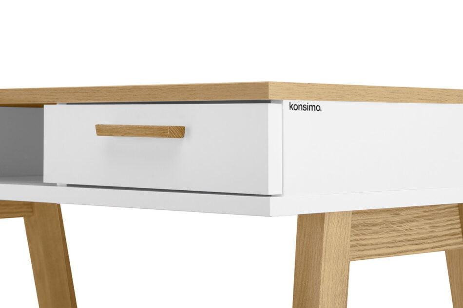 FRISK Białe biurko skandynawskie biały/dąb naturalny - zdjęcie 3