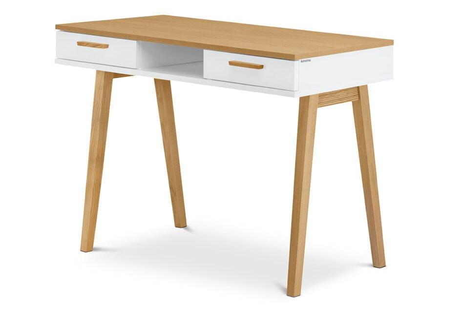 FRISK Białe biurko skandynawskie biały/dąb naturalny - zdjęcie 2