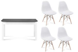 NEREA, CENARE, https://konsimo.pl/kolekcja/nerea-cenare/ Zestaw rozkładany  stół i krzesła 4 szt. w stylu skandynawskim biały/szary - zdjęcie