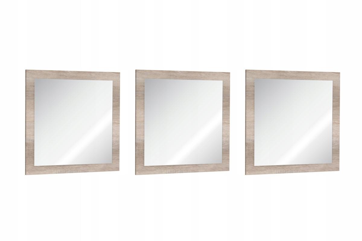 Komplet 3 minimalistycznych luster w ramie dąb