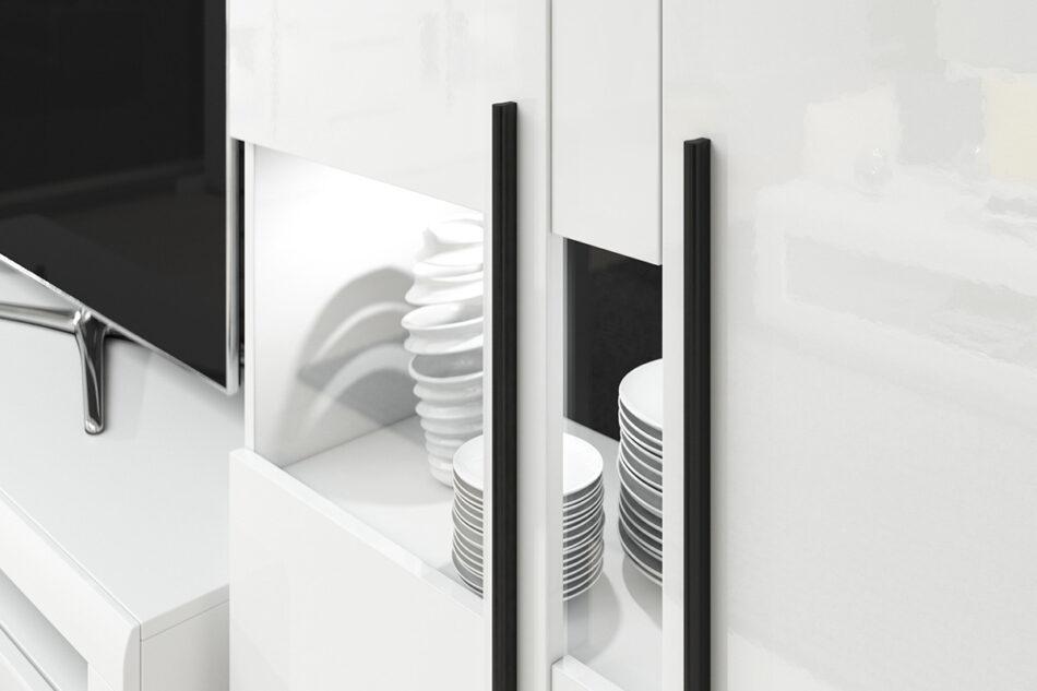 TULSA Komoda z witryną 180 cm w stylu modern biały połysk biały połysk - zdjęcie 5