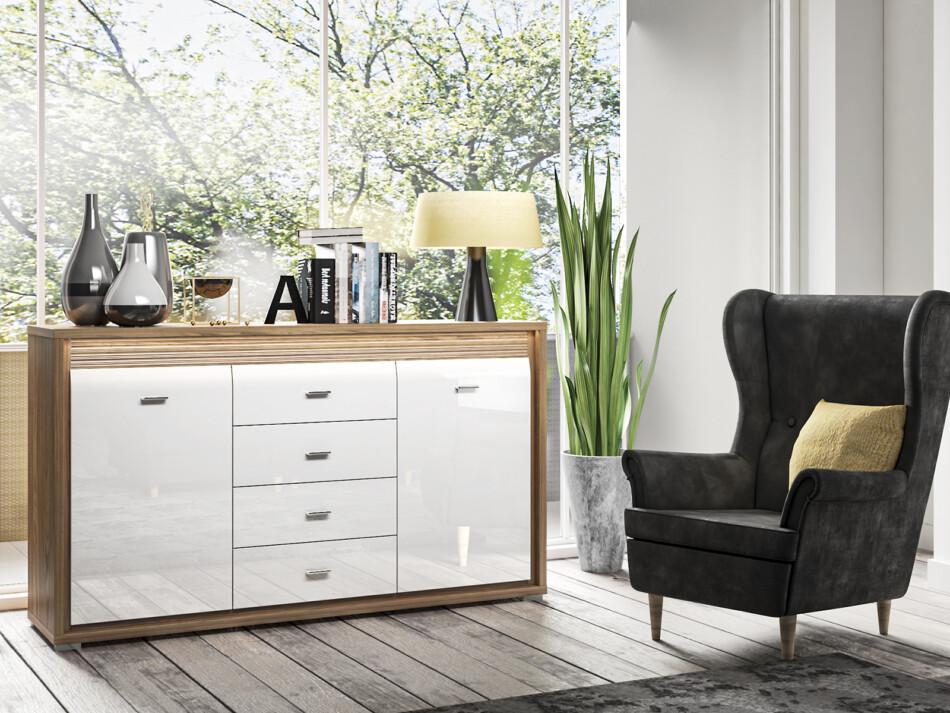 SULA Pojemna komoda z półkami i szufladami do salonu orzech / biała orzech naturalny/biały - zdjęcie 1