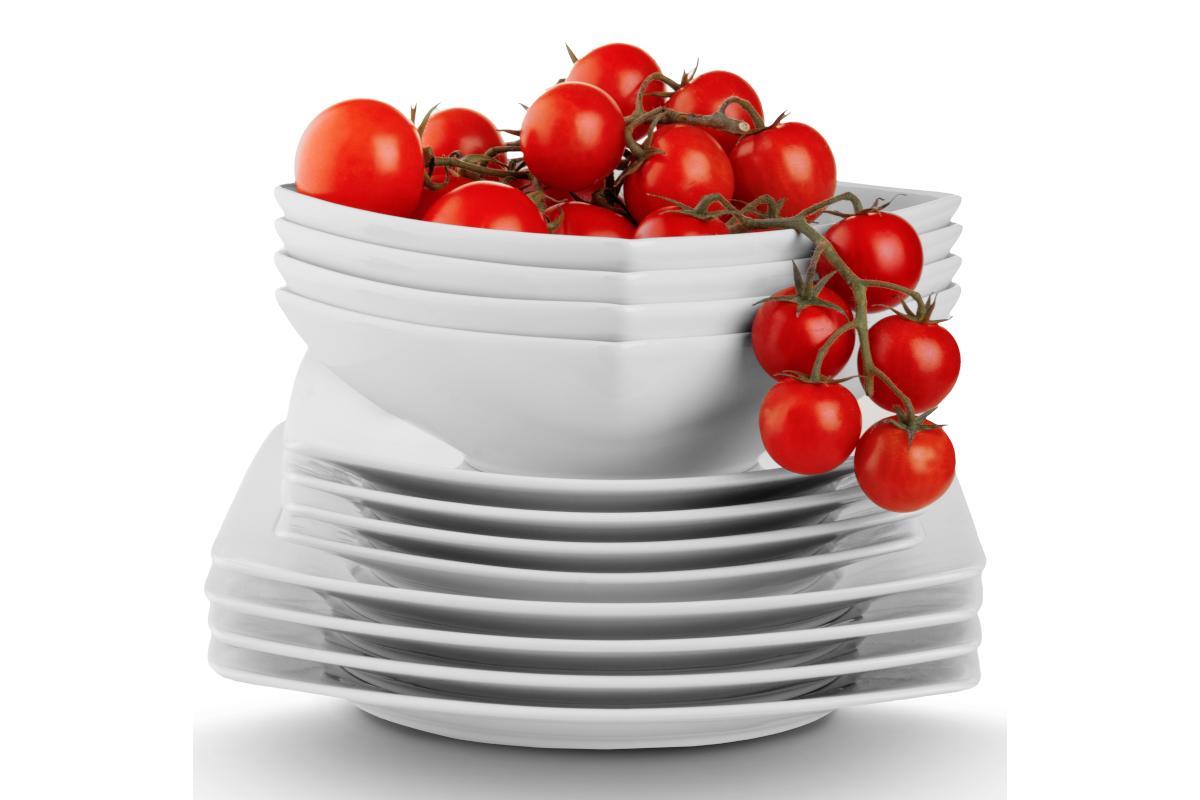 Serwis obiadowy kwadratowy 12 elementów biały dla 4 osób