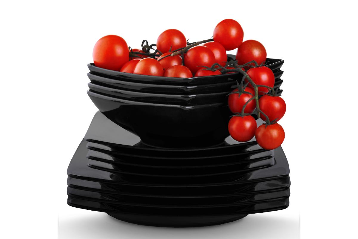 Serwis obiadowy kwadratowy 12 elementów czarny dla 4 osób