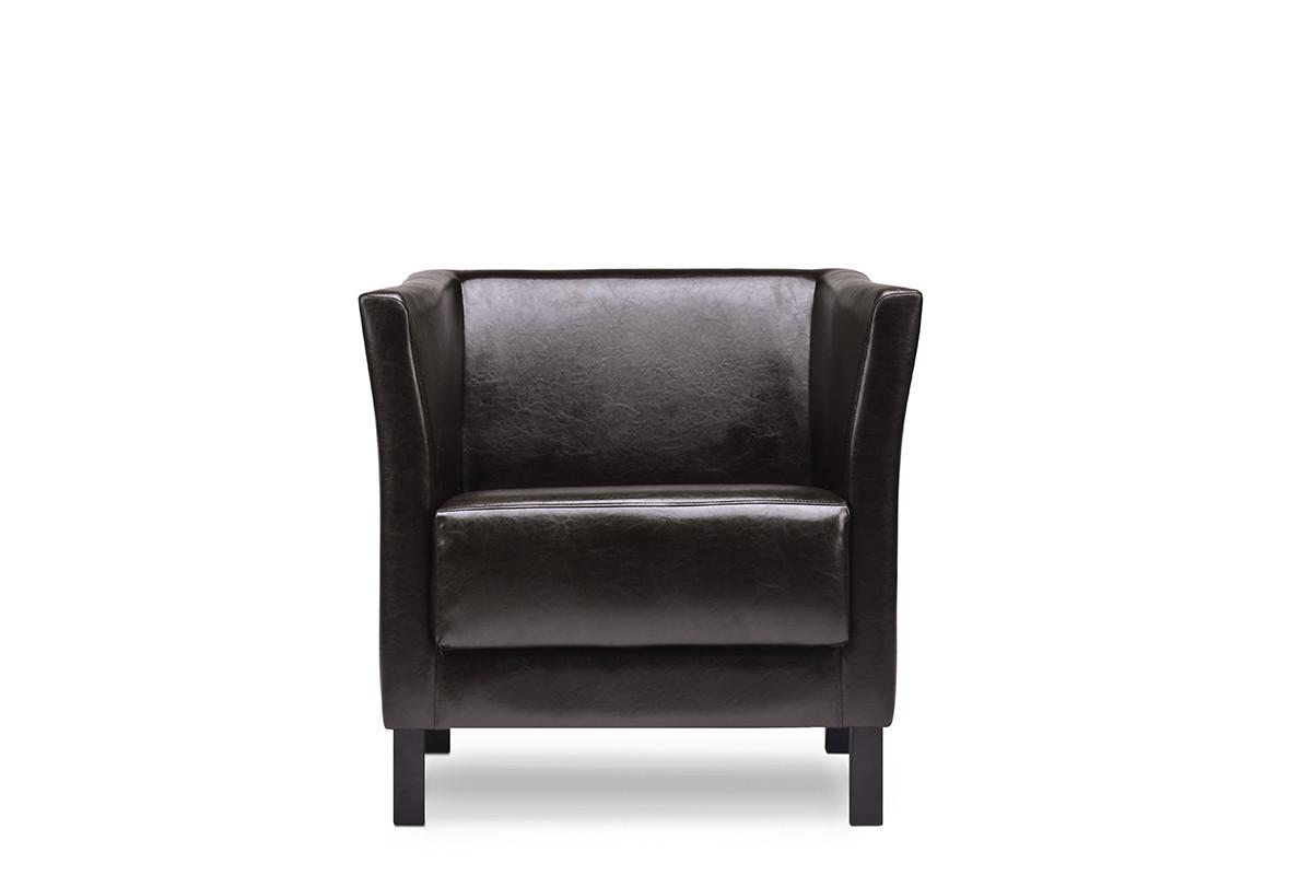 Fotel do poczekalni ekoskóra brązowy