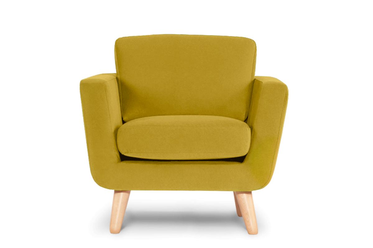 Żółty fotel skandynawski