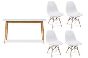 NEREA, FRISK, https://konsimo.pl/kolekcja/nerea-frisk/ Biały stół skandynawski rozkładany z krzesłami biały/dąb naturalny - zdjęcie