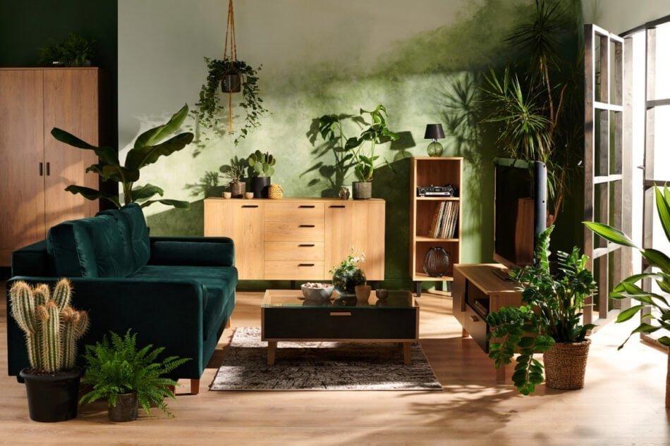 FRISK Czarne biurko skandynawskie antracytowy/dąb naturalny - zdjęcie 1
