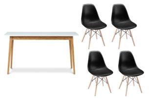 NEREA, FRISK, https://konsimo.pl/kolekcja/nerea-frisk/ Biały stół rozkładany skandynawski z krzesłami czarny/biały/dąb naturalny - zdjęcie
