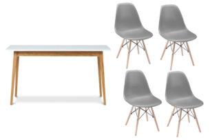 NEREA, FRISK, https://konsimo.pl/kolekcja/nerea-frisk/ Biały stół skandynawski rozkładany z krzesłami ciemny szary/biały/dąb naturalny - zdjęcie