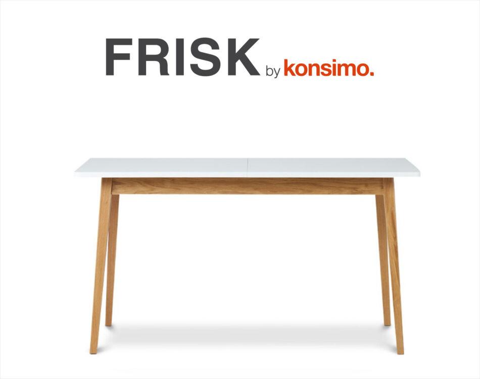 FRISK Biały rozkładany stół w stylu skandynawskim biały/dąb naturalny - zdjęcie 7