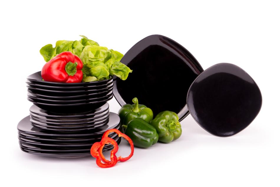 GRESI Nowoczesny zestaw obiadowy dla 6 osób czarny czarny - zdjęcie 8