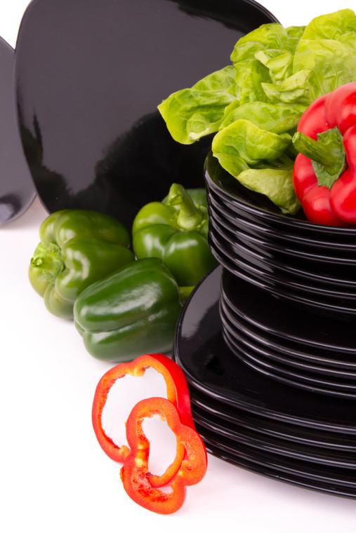 GRESI Nowoczesny zestaw obiadowy dla 6 osób czarny czarny - zdjęcie 9