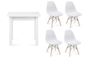 NEREA, HOSPE, https://konsimo.pl/kolekcja/nerea-hospe/ Zestaw biały stół i krzesła 4 szt. w stylu skandynawskim biały - zdjęcie
