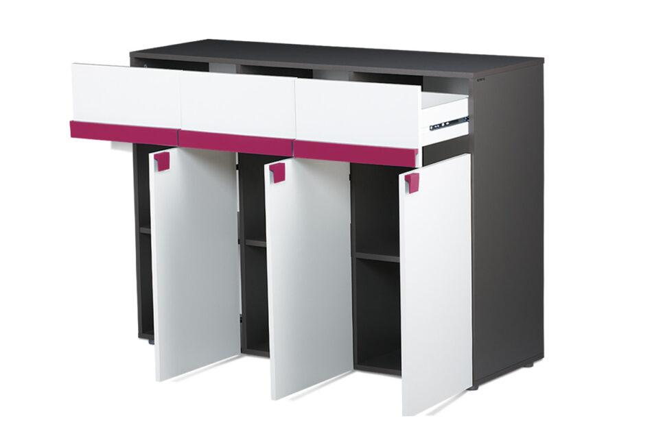SHIBU Pojemna komoda dla dziecka grafit/biały/różowy - zdjęcie 3