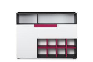 SHIBU, https://konsimo.pl/kolekcja/shibu/ Duża komoda dziecięca z półkami grafit/biały/różowy - zdjęcie