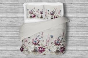 LANIUS, https://konsimo.pl/kolekcja/lanius/ Komplet pościeli z bawełny satynowej biały/szary/fioletowy - zdjęcie