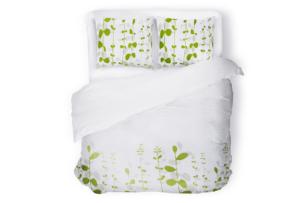 ERIGER, https://konsimo.pl/kolekcja/eriger/ Komplet pościeli biały/zielony - zdjęcie