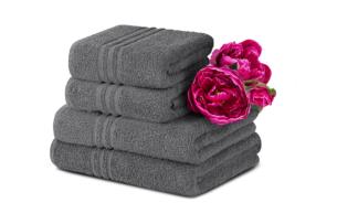 MANTEL, https://konsimo.pl/kolekcja/mantel/ Komplet ręczników średnich 4 szt. szary - zdjęcie