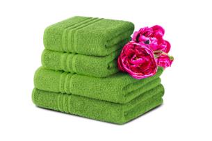 MANTEL, https://konsimo.pl/kolekcja/mantel/ Komplet ręczników średnich 4 szt. zielony - zdjęcie