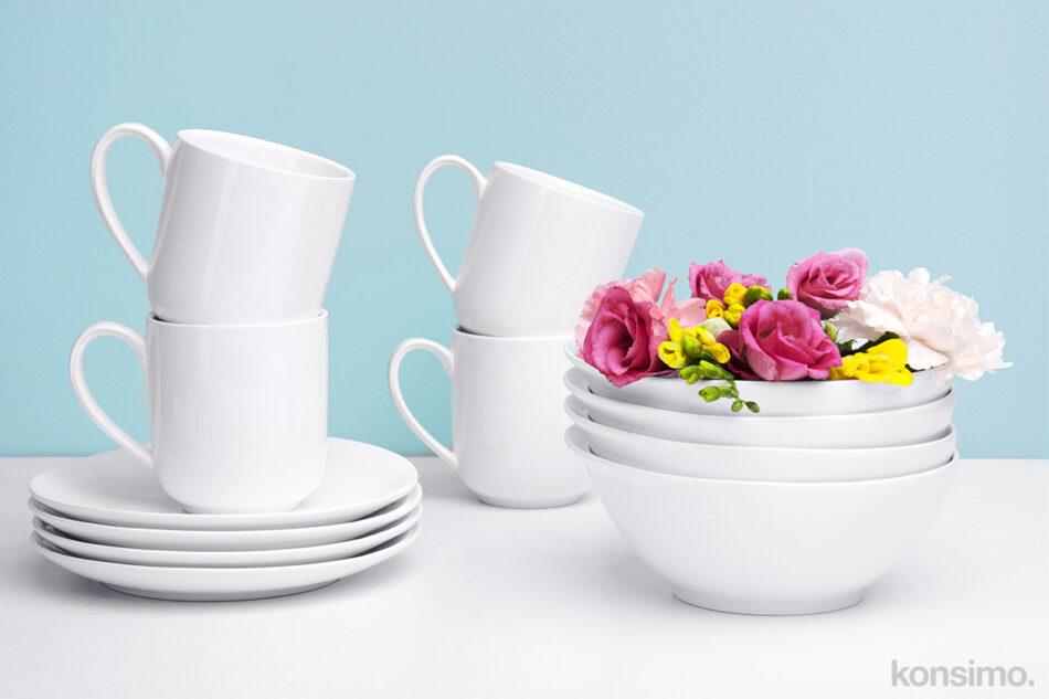 RESEDA Zestaw śniadaniowy porcelanowy dla 4 osób biały biały - zdjęcie 2