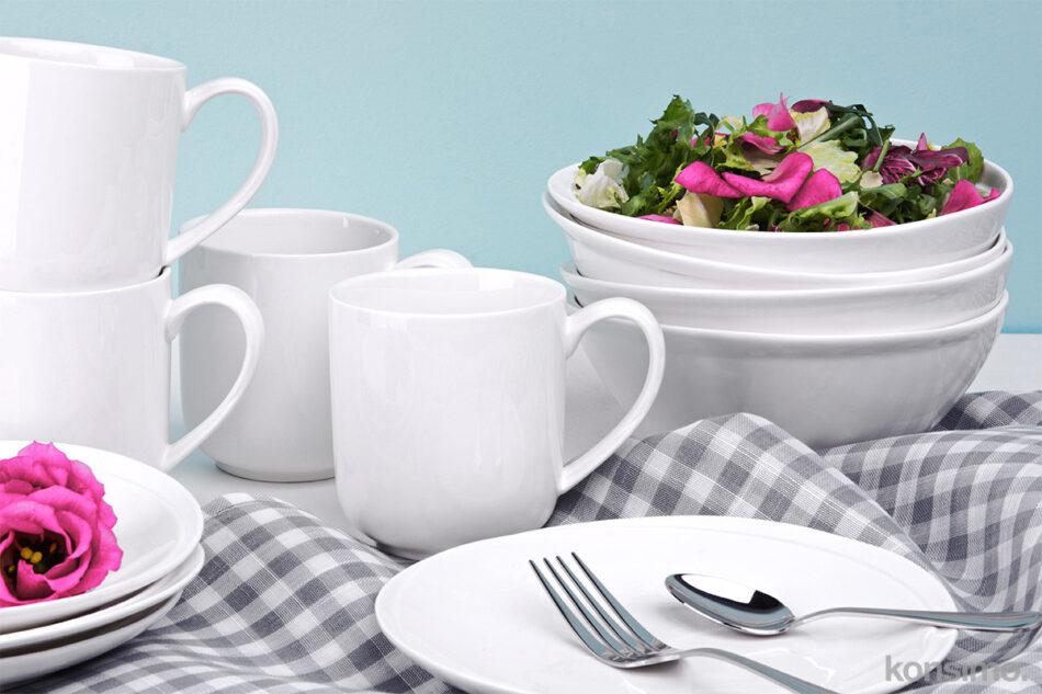 RESEDA Zestaw śniadaniowy porcelanowy dla 4 osób biały biały - zdjęcie 1
