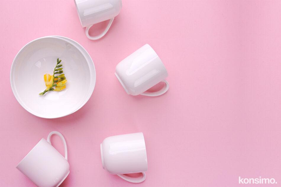 RESEDA Zestaw śniadaniowy porcelanowy dla 4 osób biały biały - zdjęcie 9
