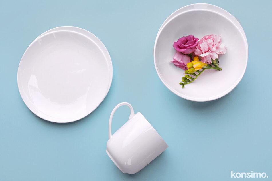 RESEDA Zestaw śniadaniowy porcelanowy dla 4 osób biały biały - zdjęcie 8