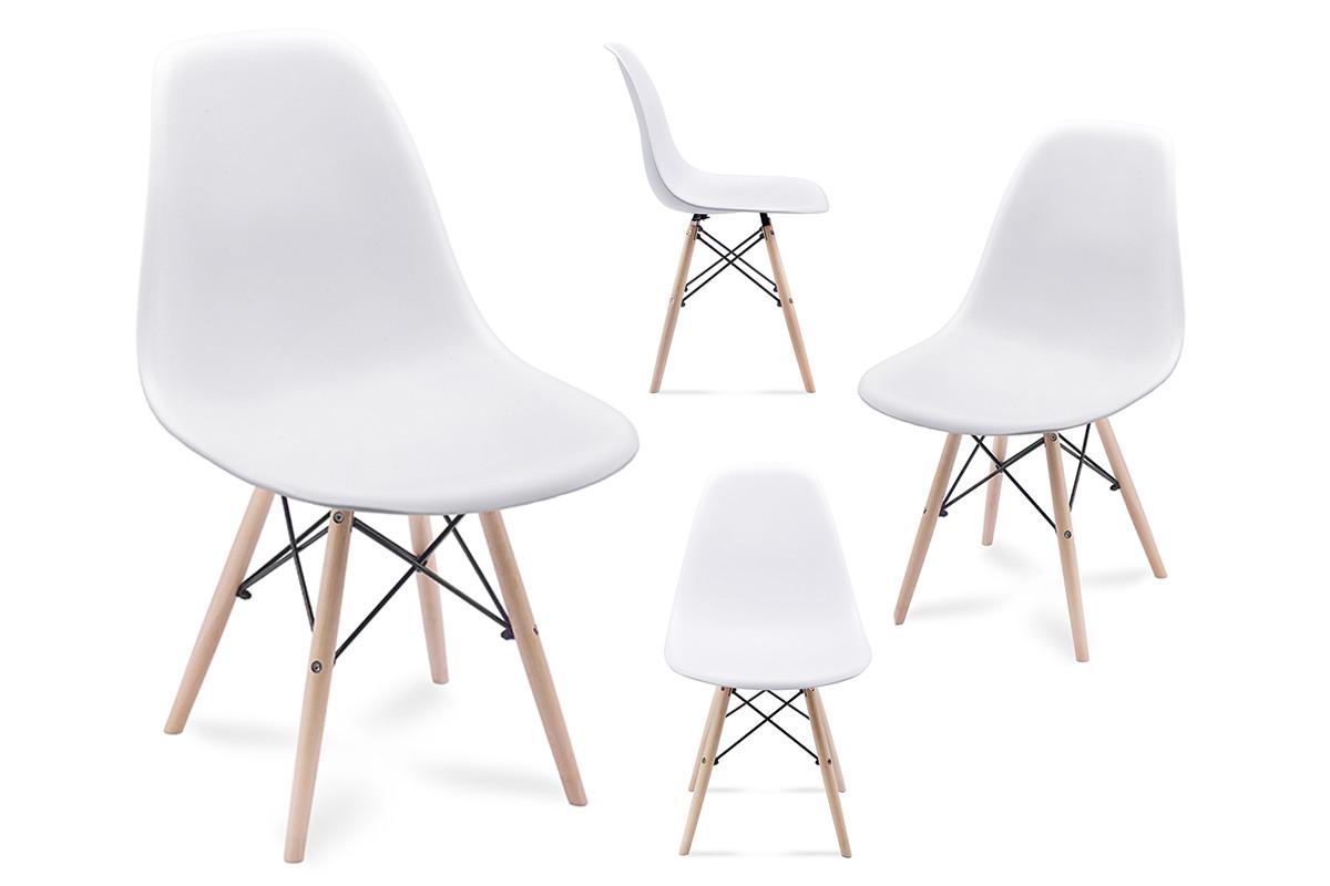 4 białe krzesła skandynawskie