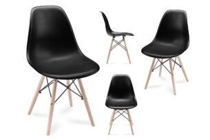 NEREA, https://konsimo.pl/kolekcja/nerea/ 4 czarne krzesła skandynawskie czarny - zdjęcie