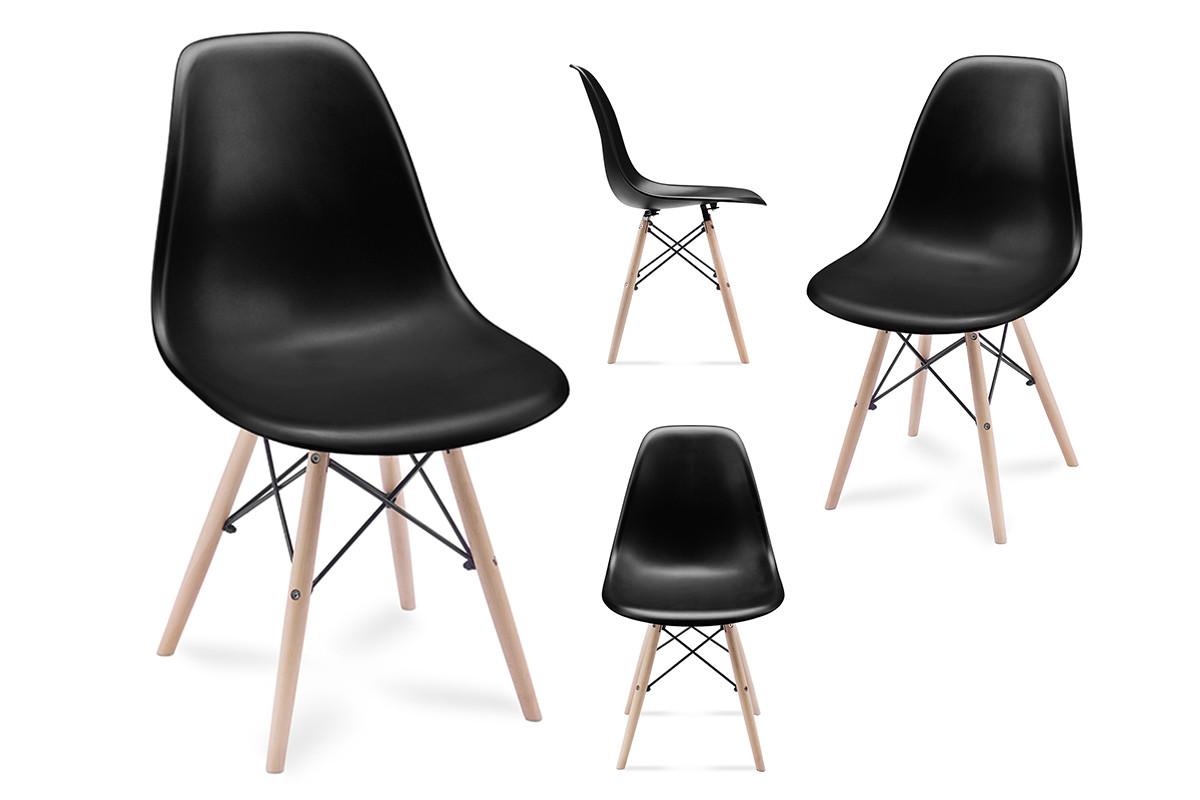 4 czarne krzesła skandynawskie