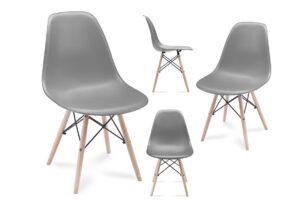 NEREA, https://konsimo.pl/kolekcja/nerea/ 4 szare krzesła skandynawskie ciemny szary - zdjęcie