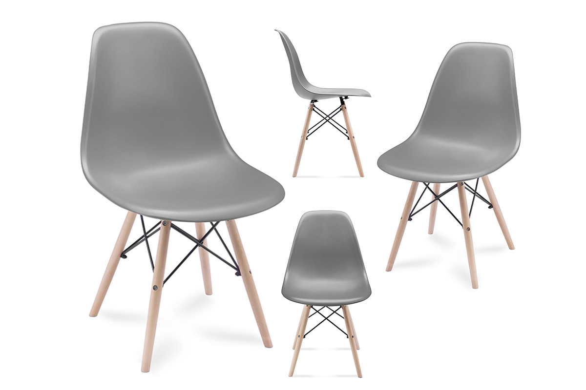4 szare krzesła skandynawskie