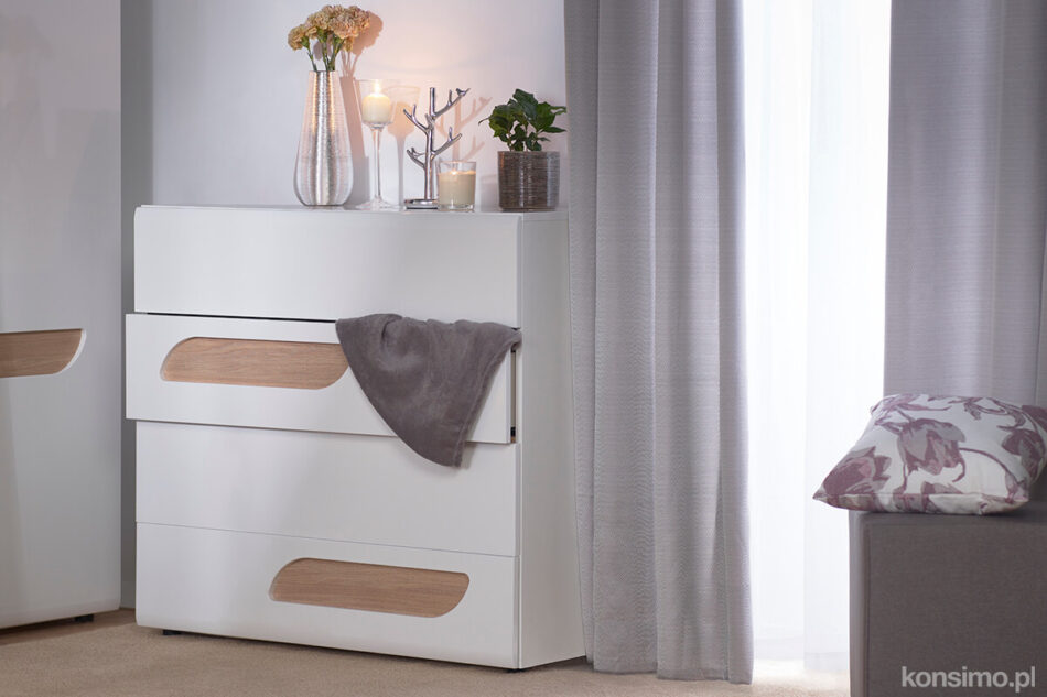 AVERO Komoda z półkami 110 cm w stylu skandynawskim dąb szary dąb/szarobeżowy - zdjęcie 1