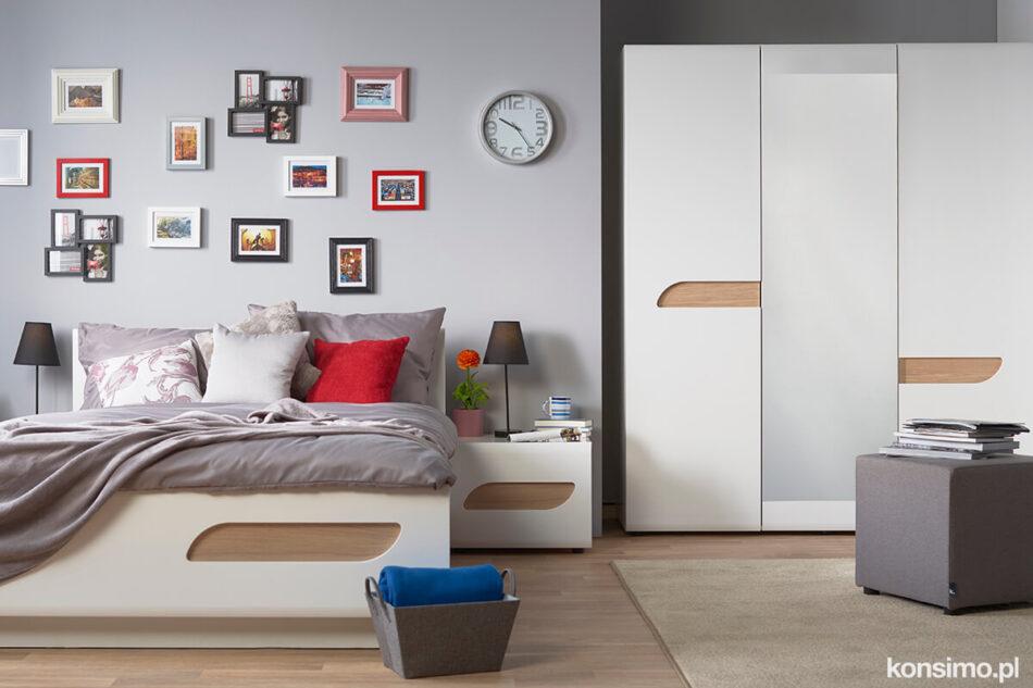 AVERO Szafa ubraniowa z półkami w stylu skandynawskim biała biały matowy/biały połysk/dąb - zdjęcie 1