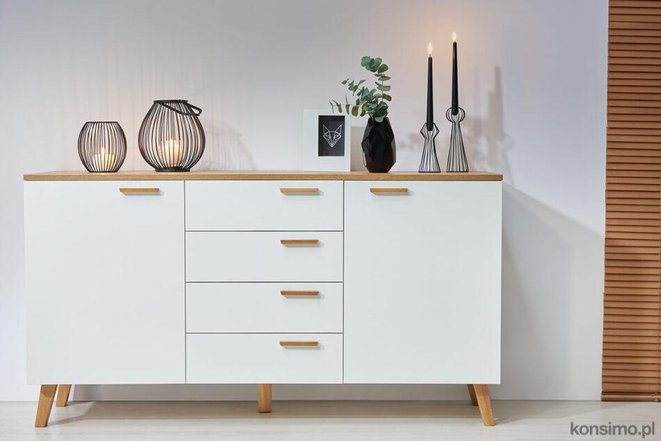 FRISK Biała komoda z szufladami skandynawska biały/dąb naturalny - zdjęcie 1